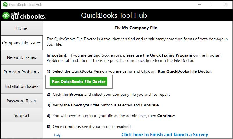 Run QuickBooks File Doctor Tool