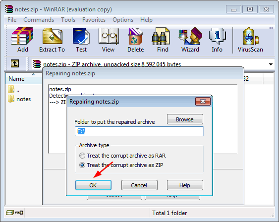 Recreate the damaged folder