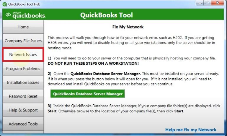 Network Issue Tab In QuickBooks Tool Hub