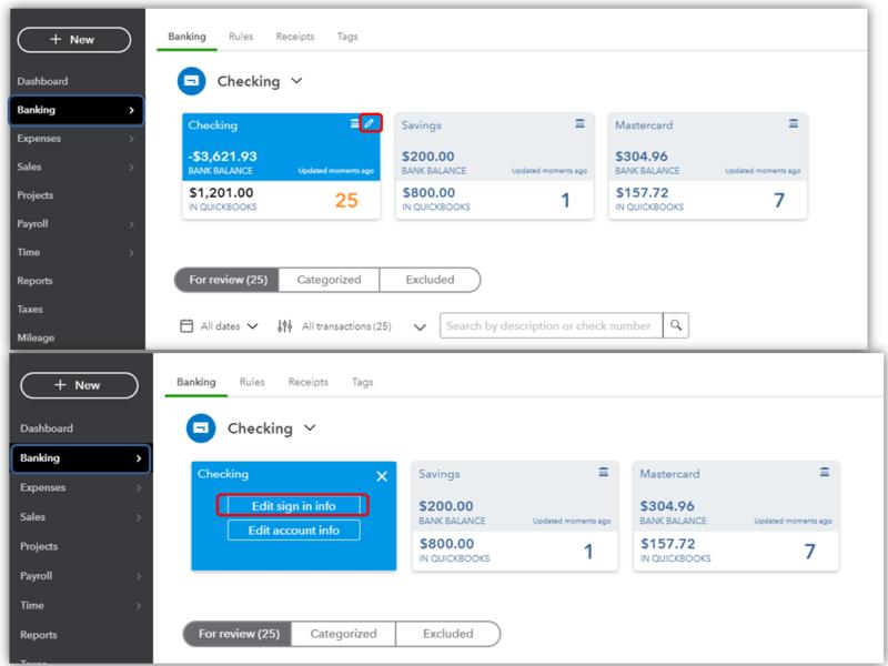 Modify Bank Credentials In QB Online - QuickBooks Error 103