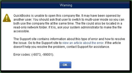 QuickBooks error -6073