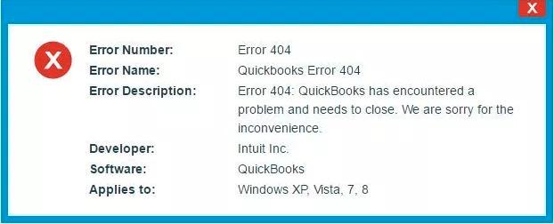 Quickbooks Error 404 -Reasons For Existence