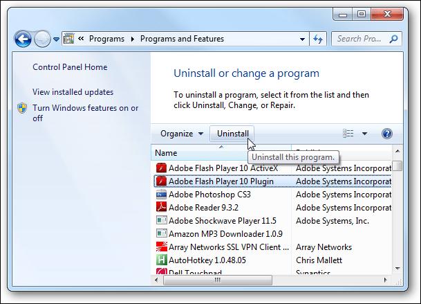 QuickBooks error 1904 : uninstall Adobe Flash Player Active X