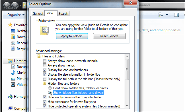 QuickBooks error code 6073 : show hidden files and folders